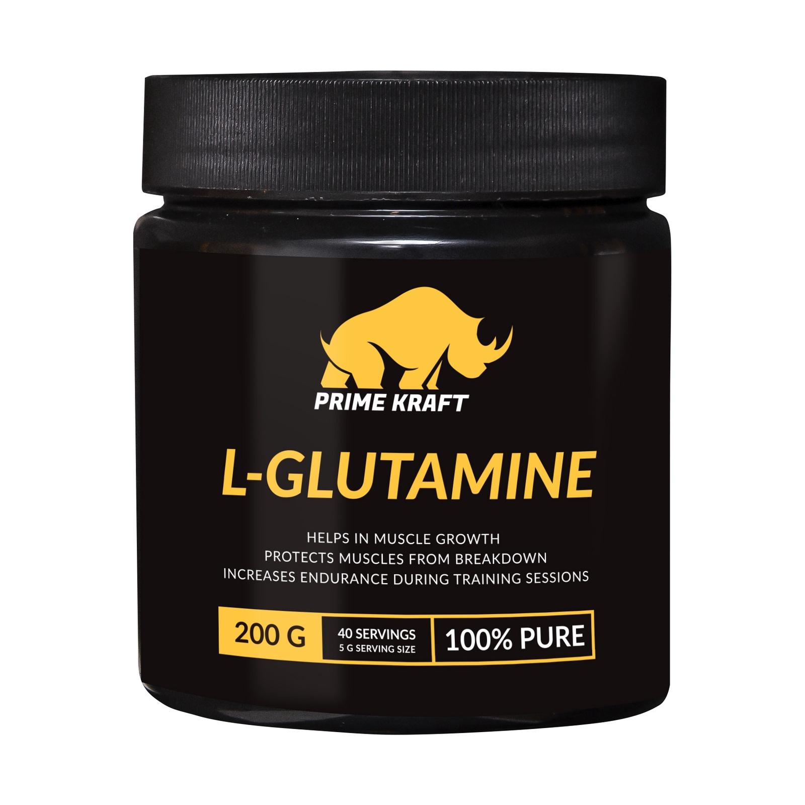 купить Напиток сухой Prime Kraft L-Glutamine, коктейль фруктово-ягодный, без вкуса, 200 г недорого