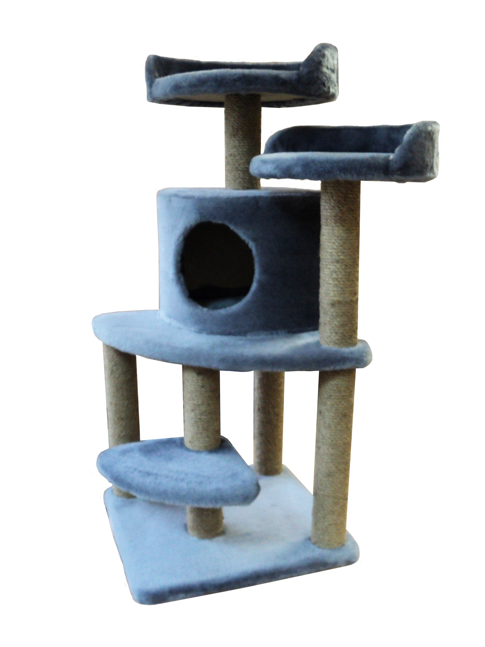 Домик - когтеточка Майя, серый, джут 50х50х100 домик когтеточка барсик серый джут 60х60х110