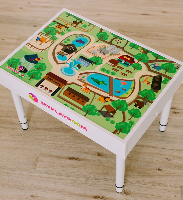"""Детский стол MYPLAYROOM Световая песочница с длинной крышкой """"Зоопарк"""""""