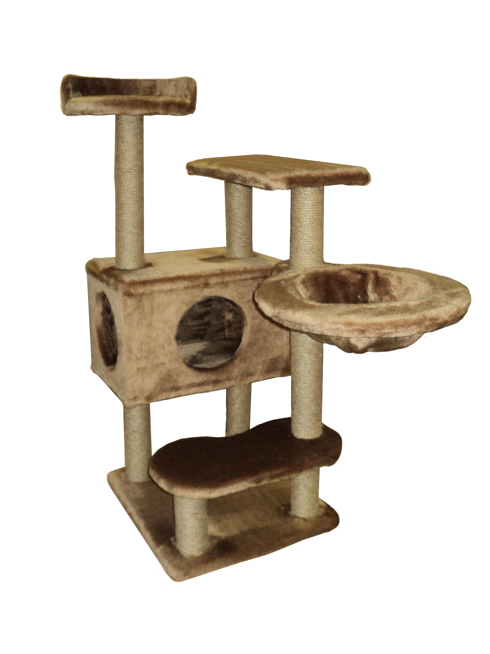 Домик - когтеточка Барсик, коричневый, джут 60х60х110 домик когтеточка барсик серый джут 60х60х110