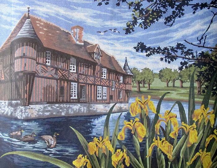 Фото - Канва с нанесенным рисунком Ирисы у пруда (60 х 80 см.) домик у пруда