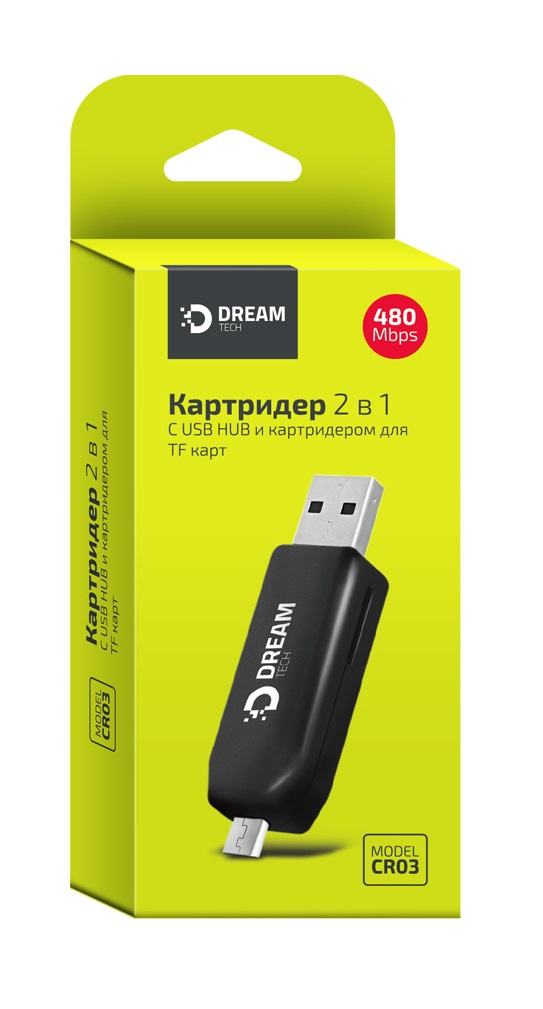 Картридер 2 В 1 DREAM DRM-CR03-01 (USB HUB, TF карты) черный приемник hpi racing 2 канальный rf 30 диапазона 2 4g для работы с передатчиками tf 20 и tf 30
