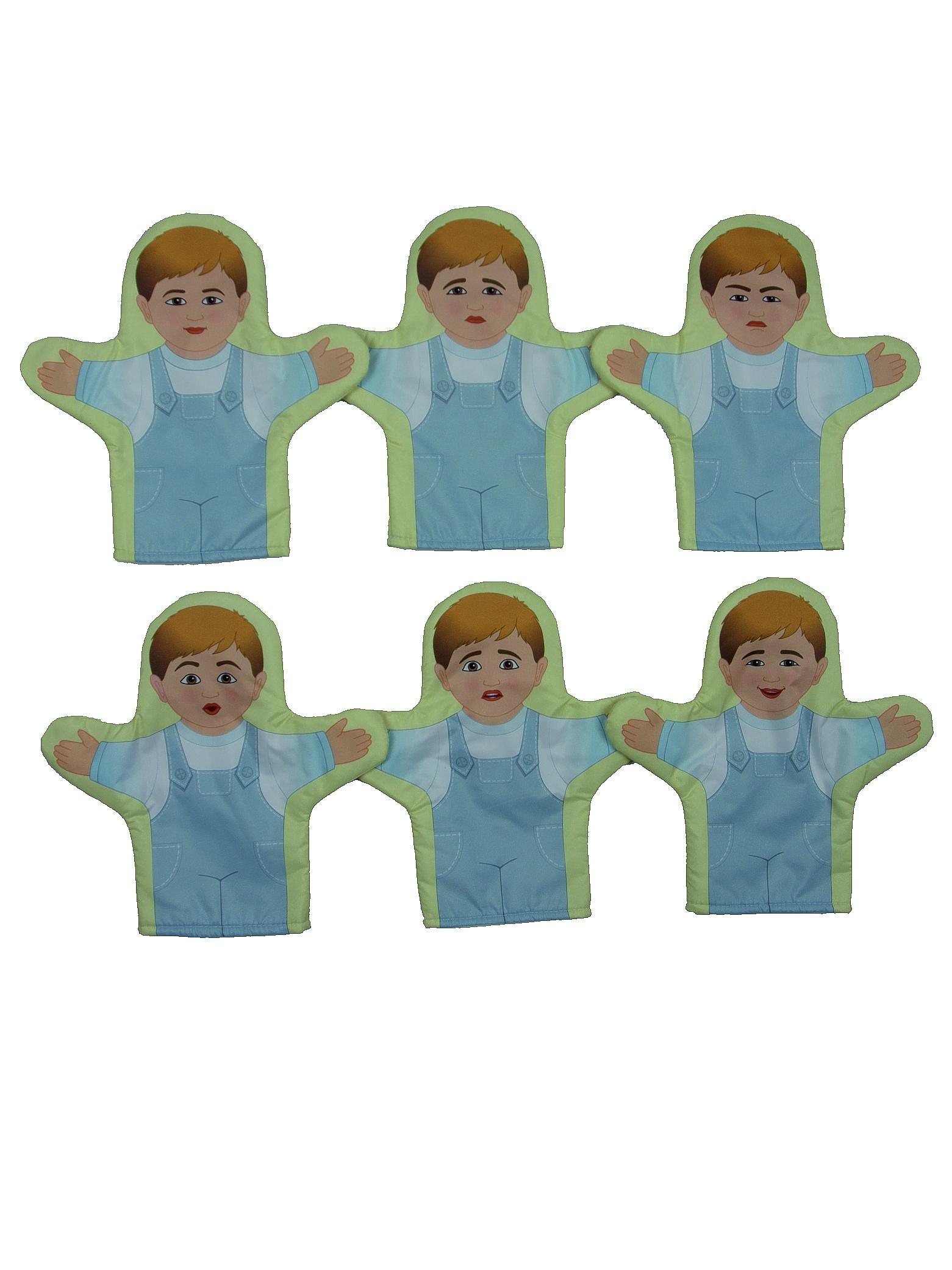 Набор кукол рукавичек''Эмоции.Мальчики'' 6 рукавичек Наивный мир