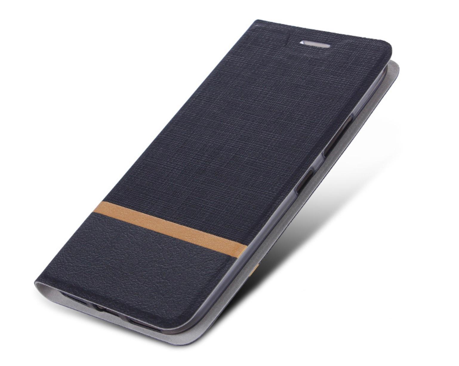 Чехол-книжка MyPads для HTC Desire 12  Plus на жёсткой металлической основе чёрный