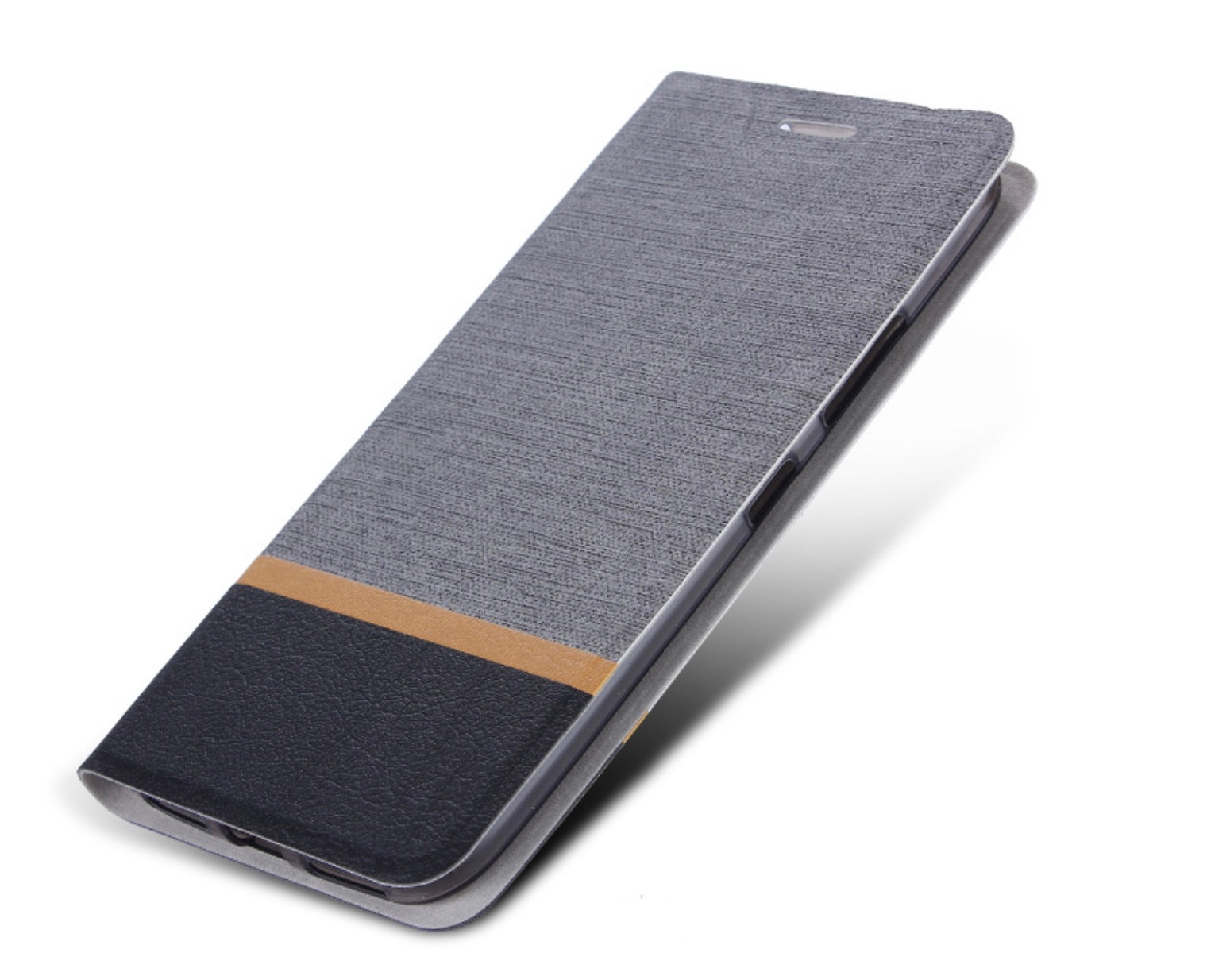 Чехол-книжка MyPads для HTC Desire 12 на жёсткой металлической основе серый