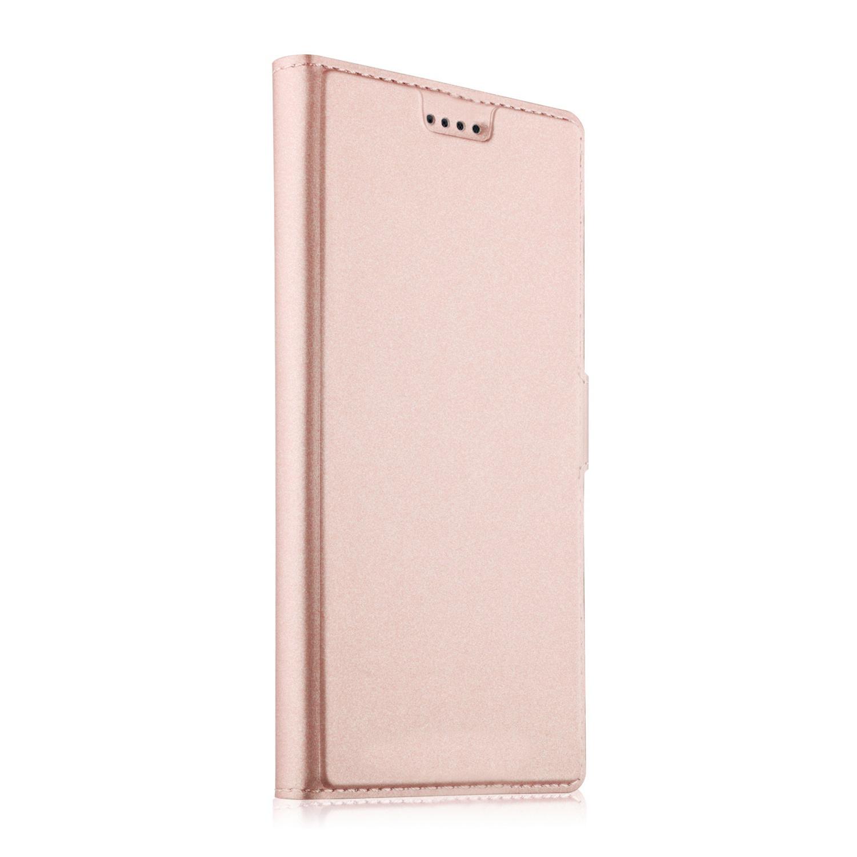 Чехол-книжка MyPads для Samsung Galaxy J4 (2018) на жёсткой металлической основе розовое золото