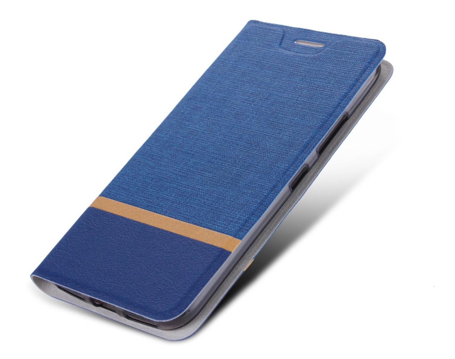 Чехол-книжка MyPads для HTC Desire 12 Plus на жёсткой металлической основе синий