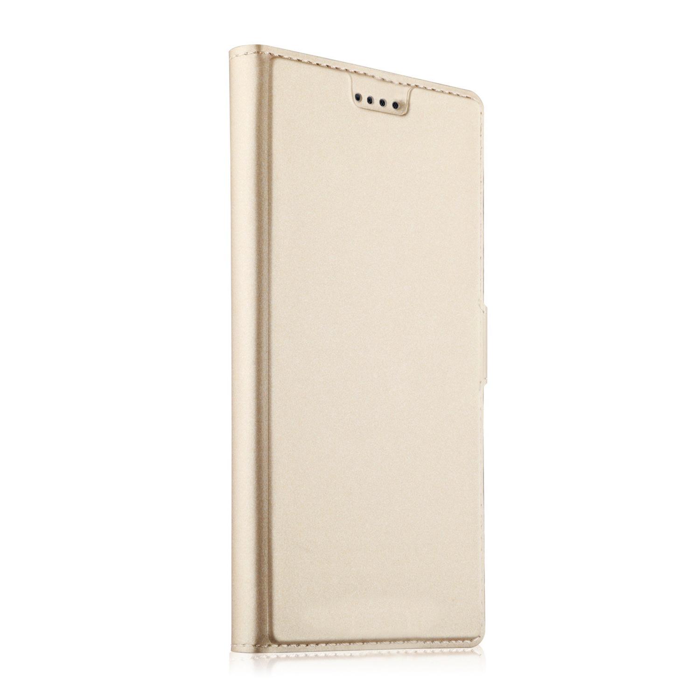 Чехол-книжка MyPads для Sony Xperia L2 на жёсткой металлической основе золотой