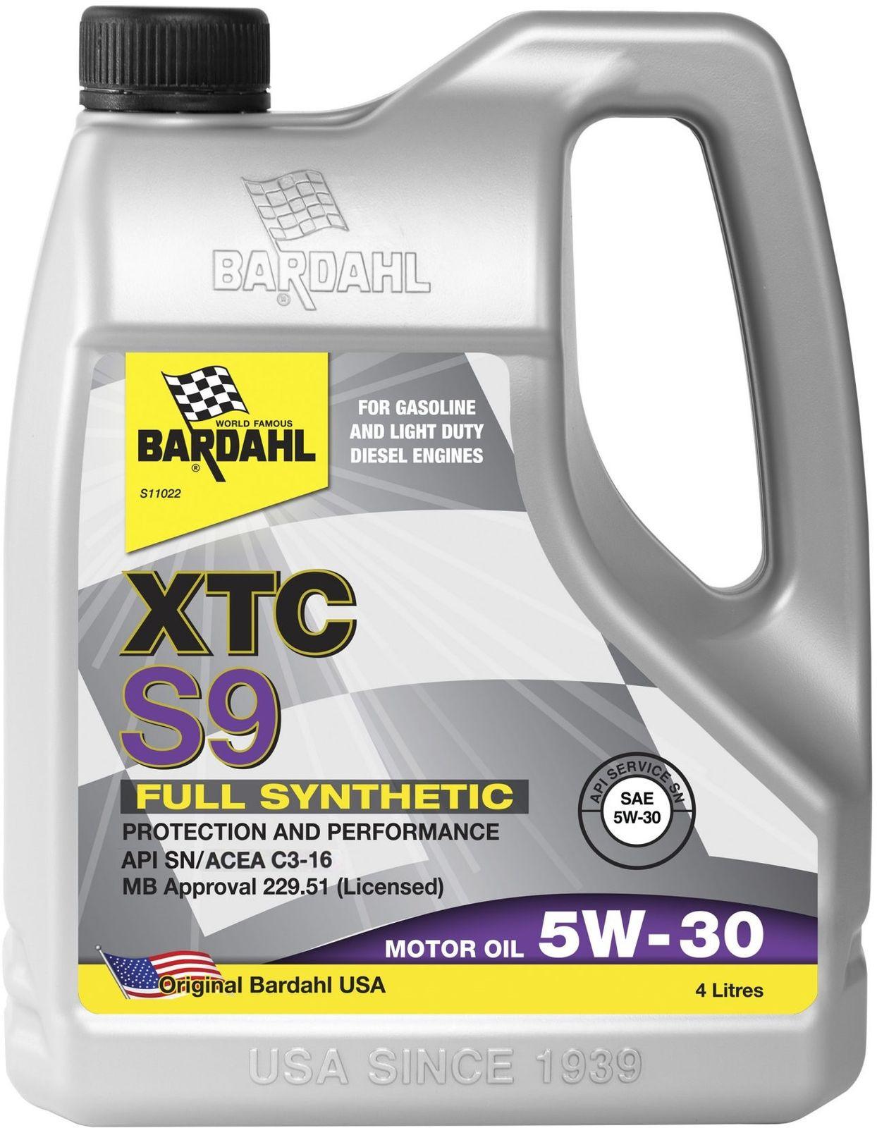 Масло моторное Bardahl XTC S9, 5W-30, SN/CF, 4 л