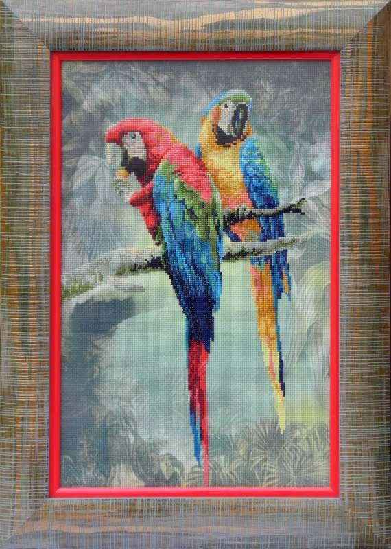 Набор для вышивания крестом Риолис Попугаи (26 х 40 см.) набор для вышивания крестом хрустальная бабочка 31 см х 40 см