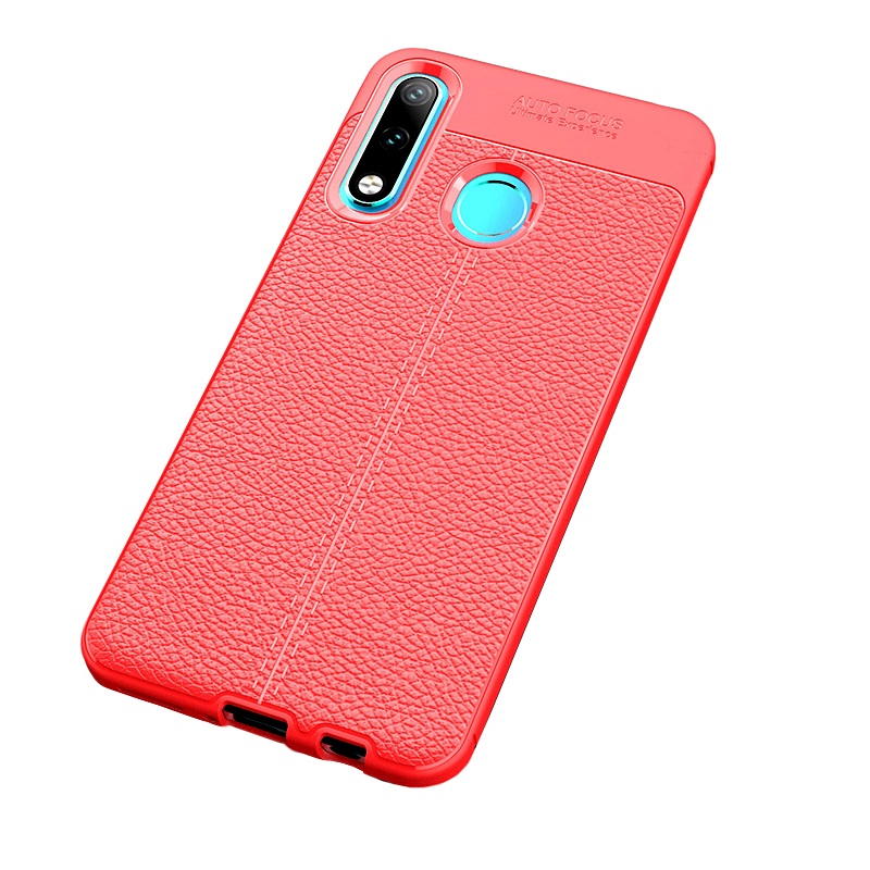 Чехол MyPads для Sony Xperia 10 Plus из качественного износостойкого силикона с декоративным дизайном под кожу с тиснением красный