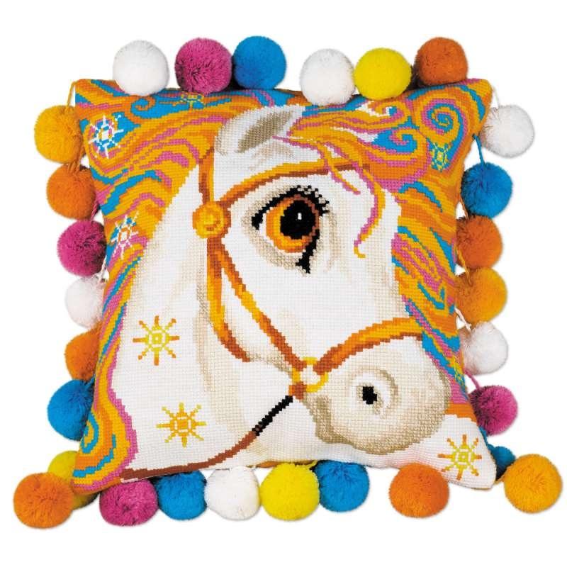 Набор для вышивания крестом Риолис Подушка Златогривая лошадка (30 х 30 см.) набор для вышивания крестом риолис лесная хозяйка 40 х 30 см