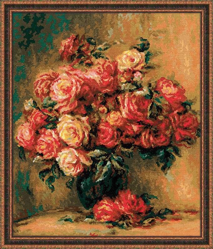 Набор для вышивания крестом Риолис Букет роз по мотивам картины Пьера Огюста Ренуара (40 х 48 см.) набор для вышивания крестом риолис лесная хозяйка 40 х 30 см