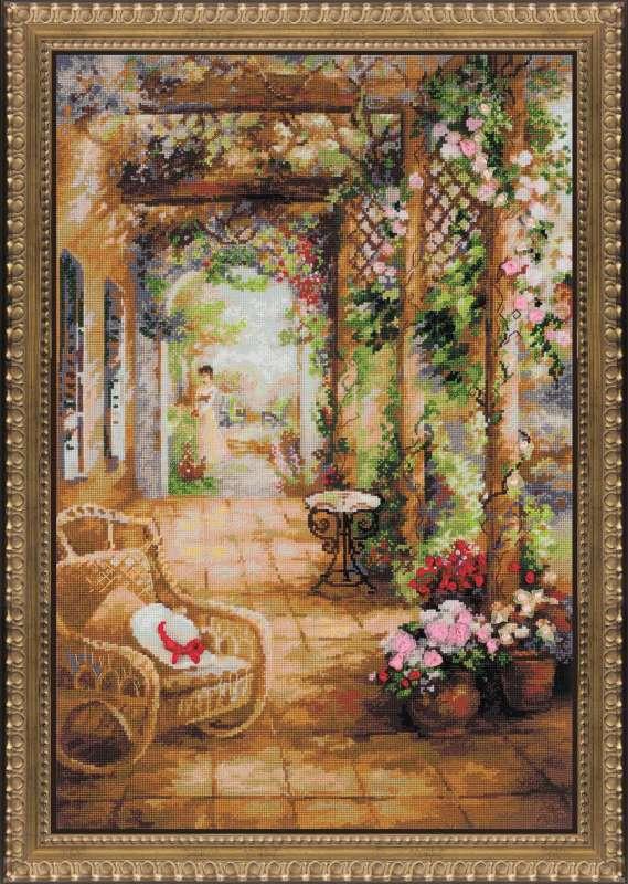 Набор для вышивания крестом Риолис Свидание в саду (40 х 60 см.) набор для вышивания крестом хрустальная бабочка 31 см х 40 см