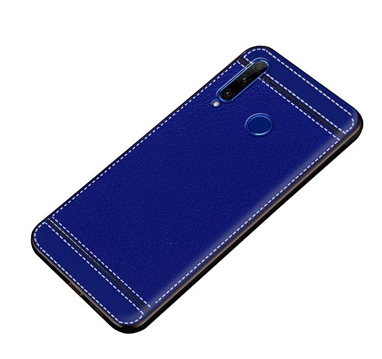 Чехол MyPads для Xiaomi Redmi Note 7 из силикона с дизайном под кожу синий