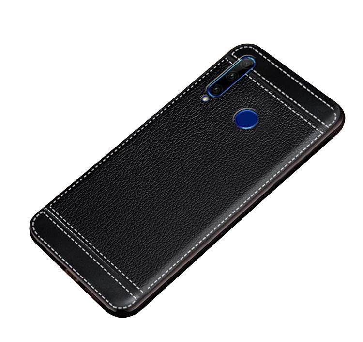 Чехол MyPads для Xiaomi Redmi Note 7 из силикона с дизайном под кожу черный