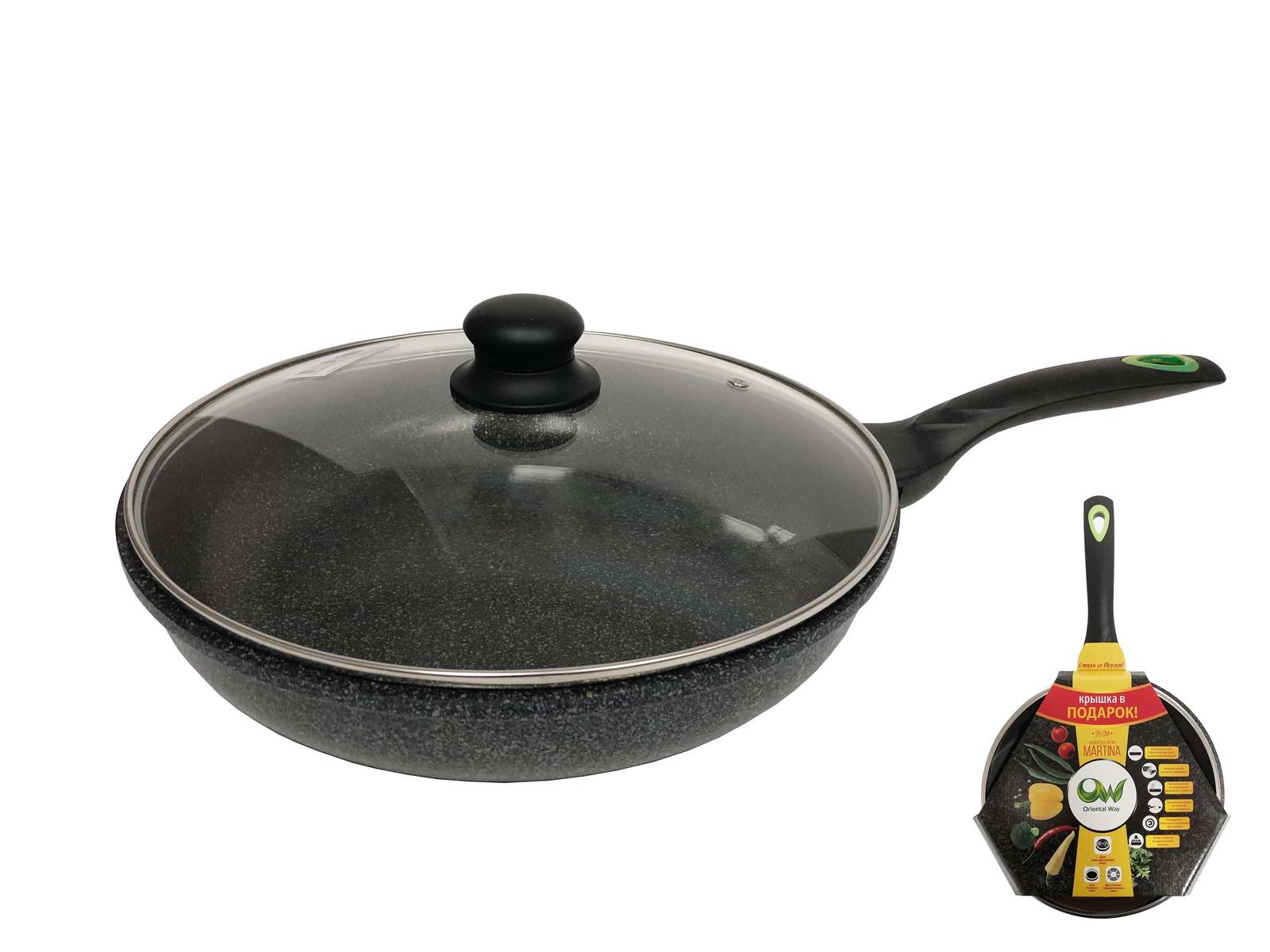 """QA26-4626 Сковорода Steel Way """"MarTiNa"""", литая, с мраморным покрытием, цвет: серый Диаметр 26 см, Крышка в подарок"""
