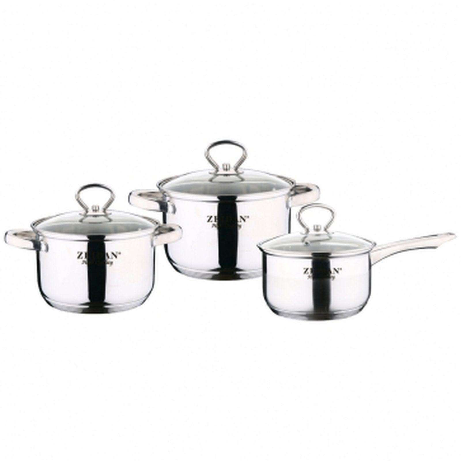 Набор посуды Zeidan, Z-50621, с крышками, 6 предметов набор посуды rondell savvy 6 предм нерж сталь индукция