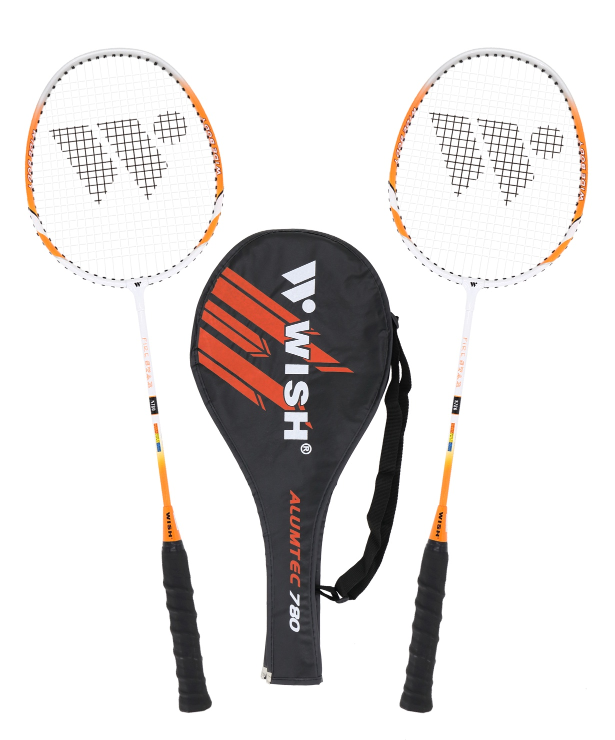 Набор для бадминтона WISH Alumtec 780 (2 ракетки), оранжевый чехол для ракетки pongori чехол для ракетки 130