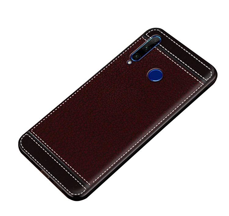 Чехол MyPads для Samsung Galaxy S10 Plus  из силикона с дизайном под кожу коричневый