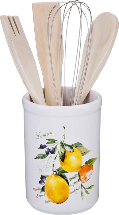 Подставка для кухоных принадлежностей Lefard Итальянские лимоны, 230-168, 14 х 9 х 9 см держатель для книг 14 х 9 х 22 см