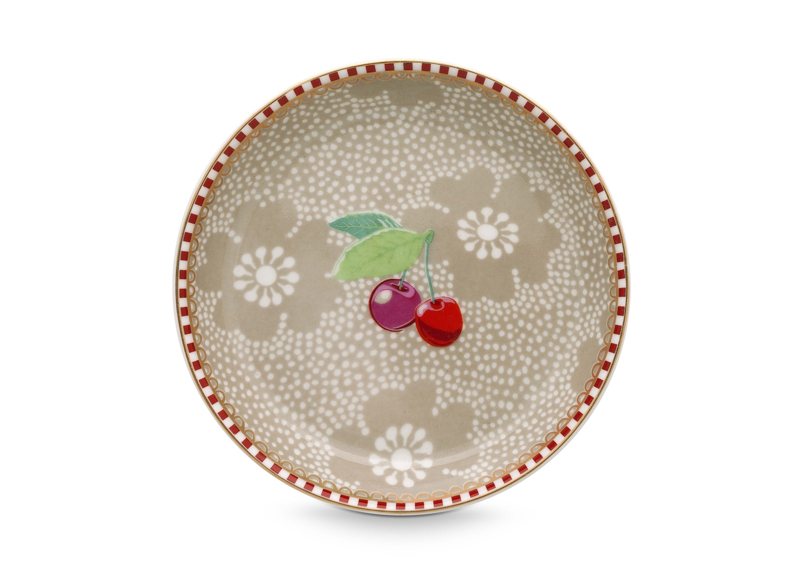 цена Набор из 2-х блюдец для чайных пакетиков Dotted Flower Khaki онлайн в 2017 году