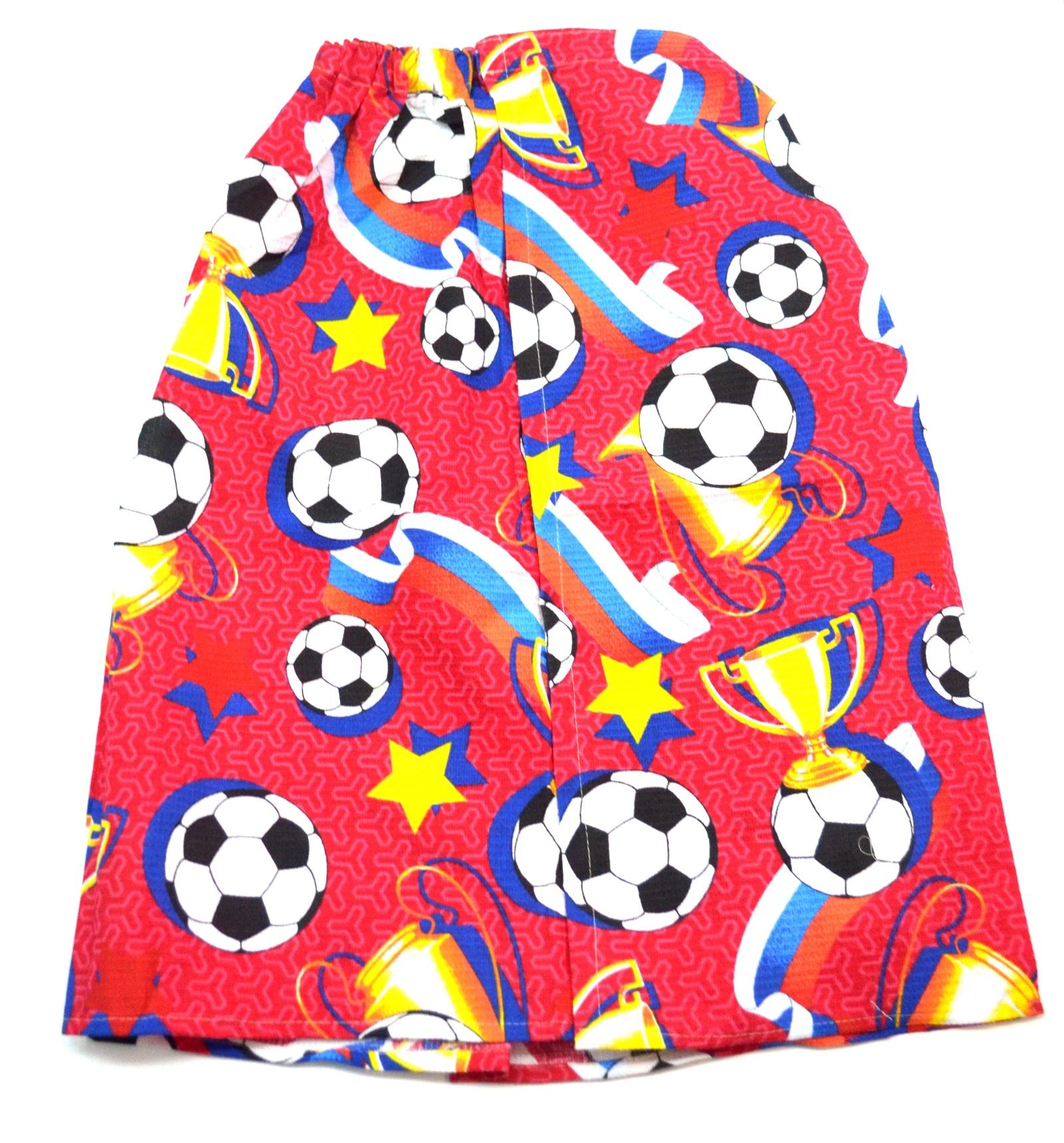 Килт для бани мужской вафельная ткань ФУТБОЛ красный килт для бани tapani тапани