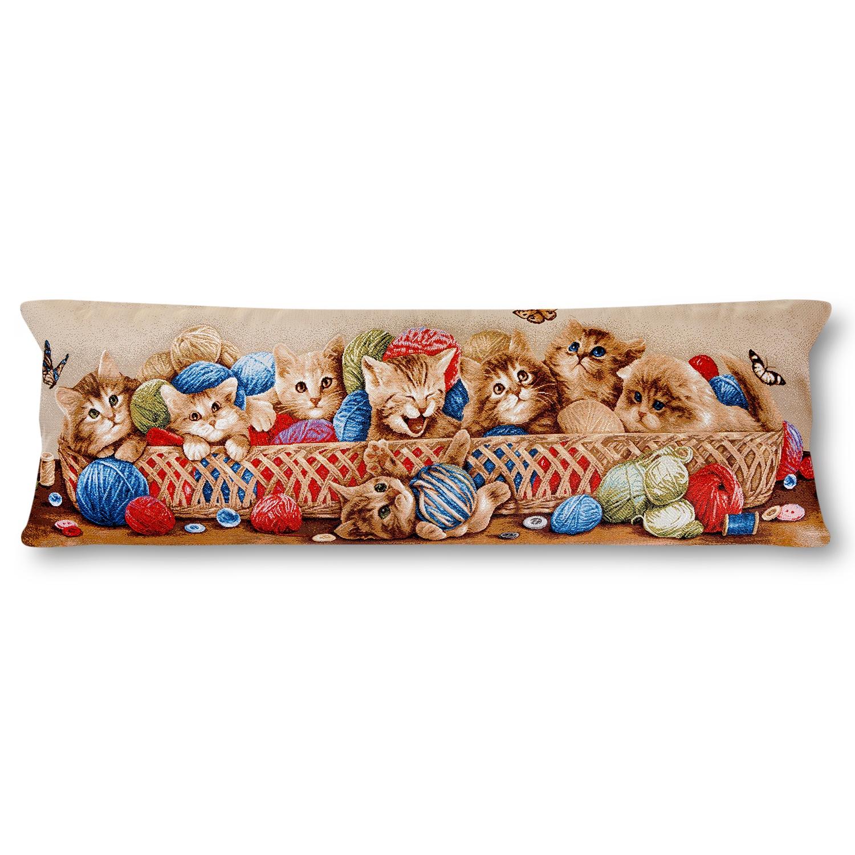 Гобелен подушка декоративная магазин гобеленов корзина с котятами 35/90 см