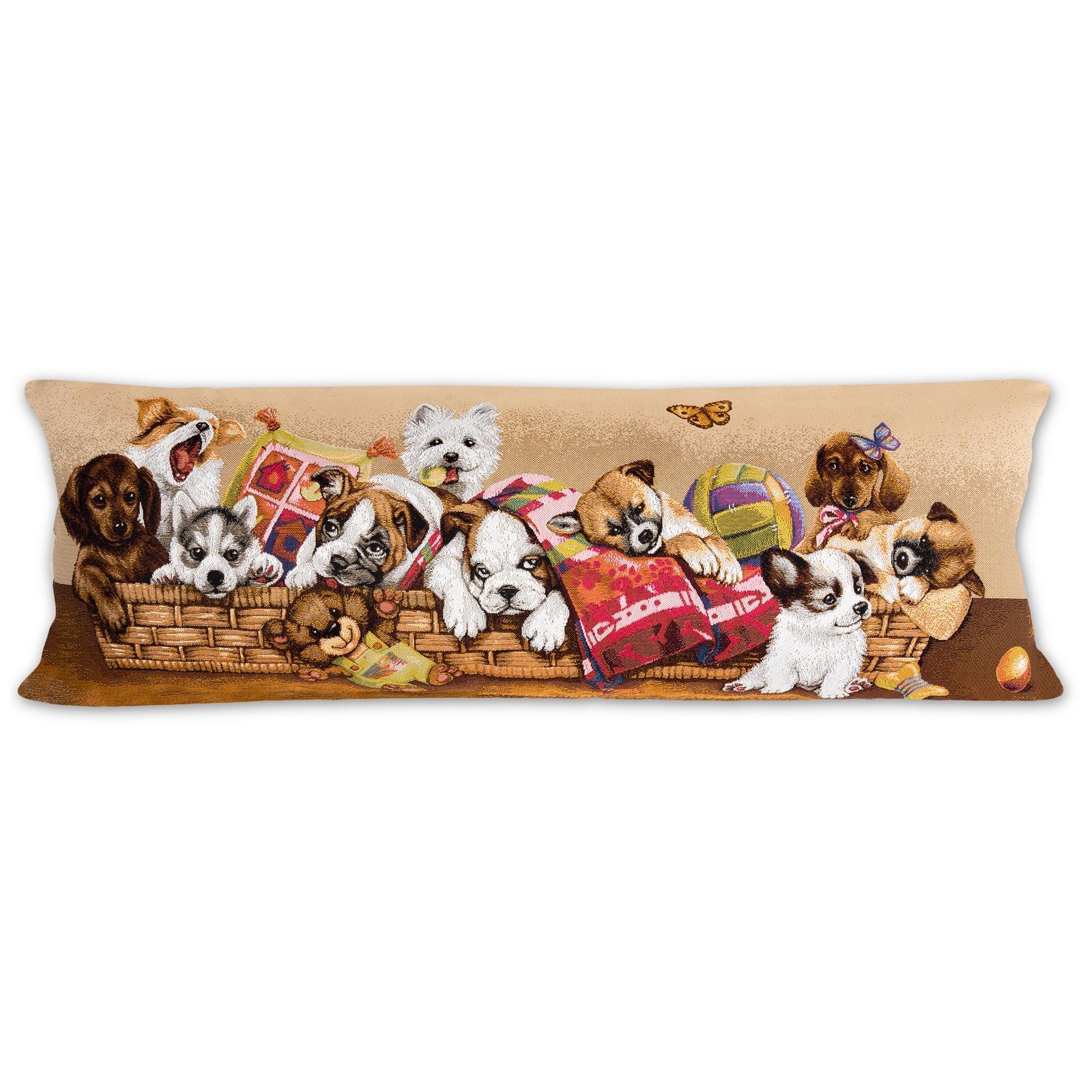 Гобелен подушка декоративная Игривые щенки в корзине 35 на 90 см