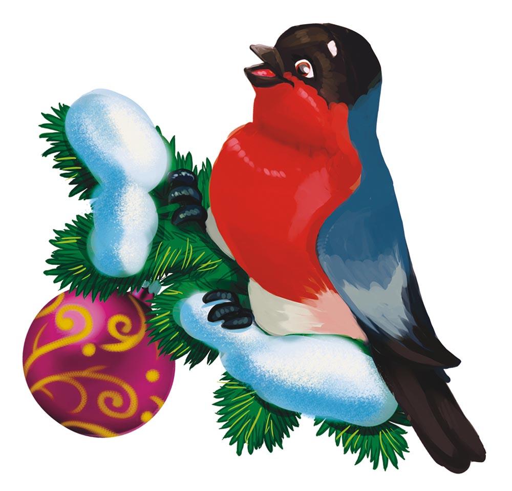 Картинка новогодняя рисунок снегири