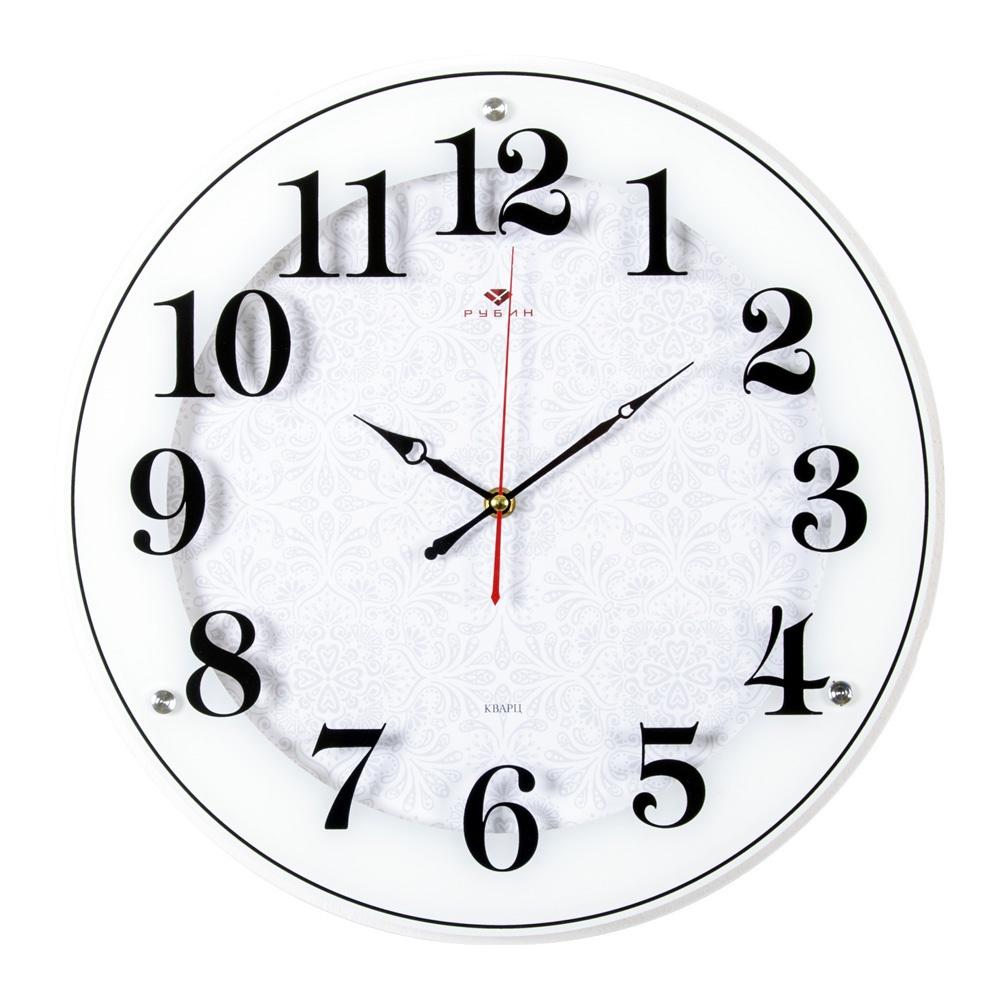 """Рубин 4040-1243W Часы настенные круг d-39см, корпус белый """"Классика с узором"""""""