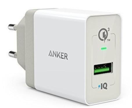 Сетевое зарядное устройство Anker 18W, 3А, 1 умный USB порт 2 .QC 3.0 (белое)