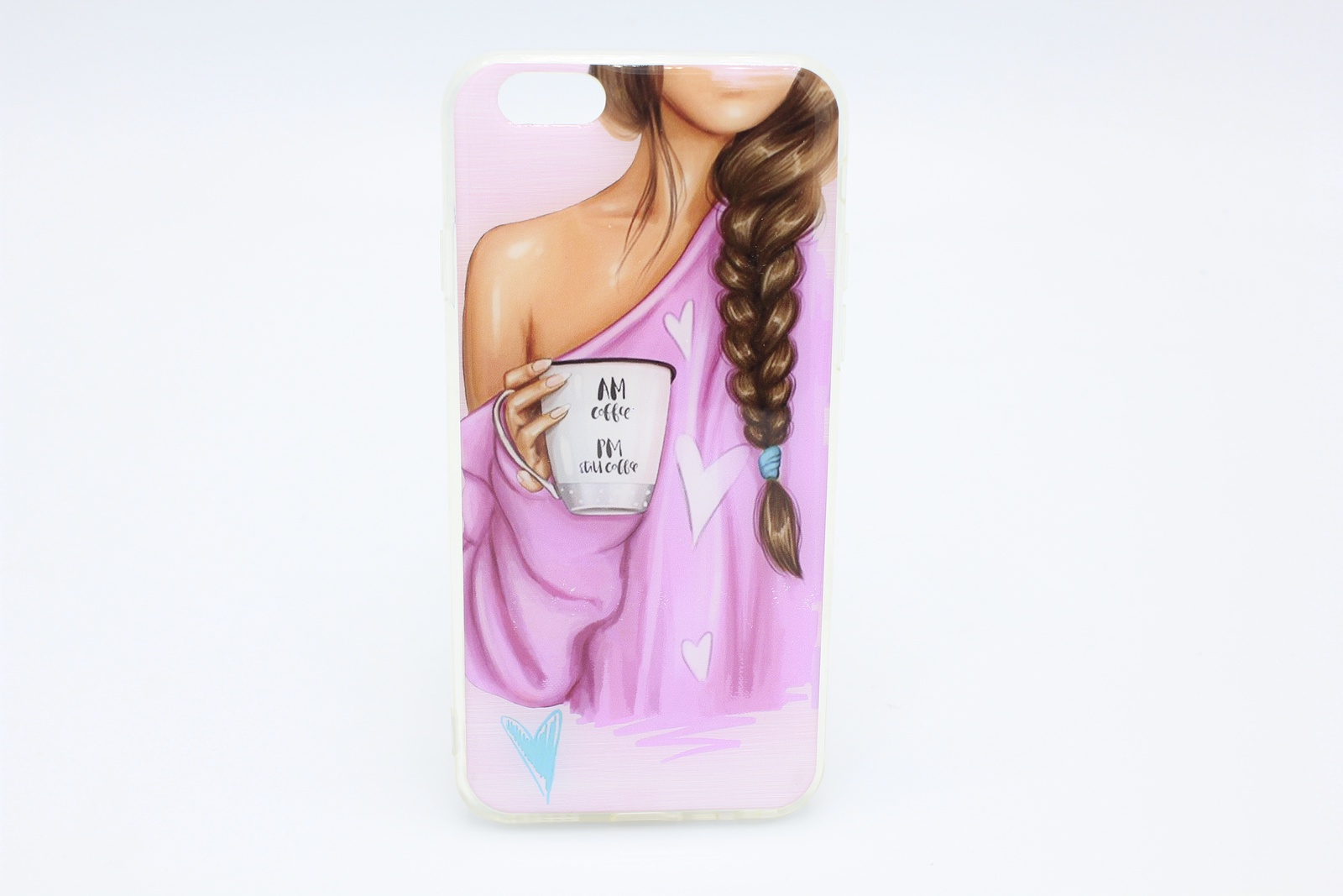 Чехол акриловый для Apple Phone 7, девушка с чашкой кофе