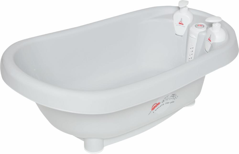 детские ванночки bebe jou ванночка для купания 6256 Bebe Jou термо-ванночка для купания ПУТЕШЕСТВЕННИК нежно-серый