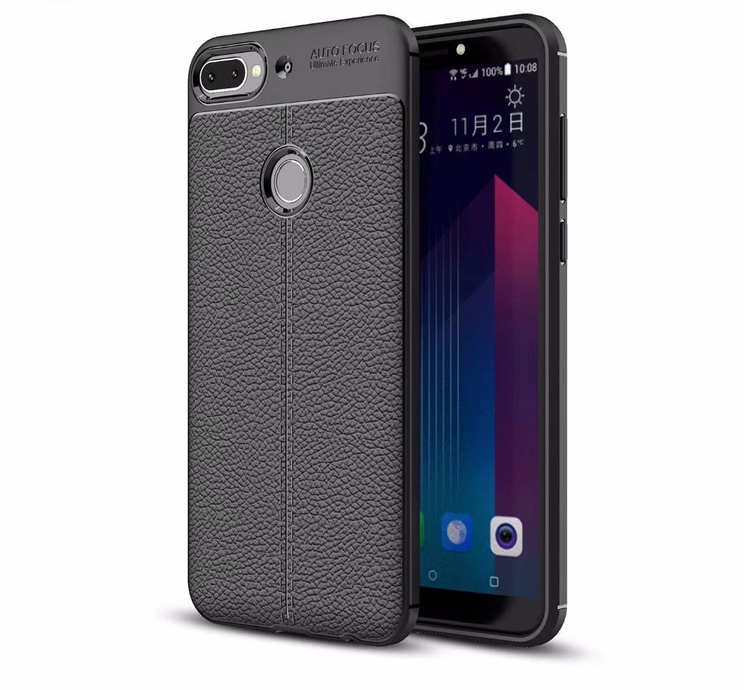 Чехол MyPads для HTC Desire 12 Plus из силикона с дизайном под кожу черный