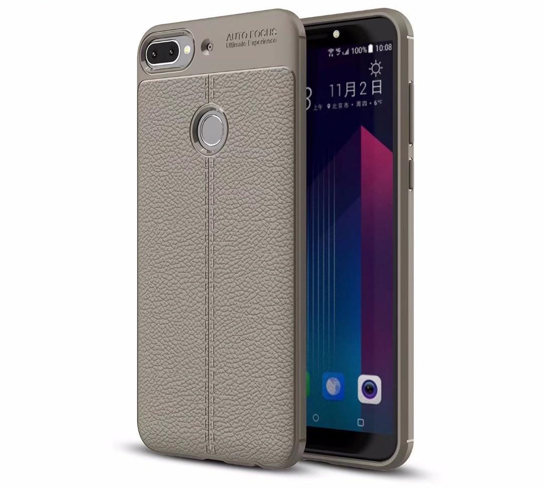 Чехол MyPads для HTC Desire 12 Plus из силикона с дизайном под кожу серый