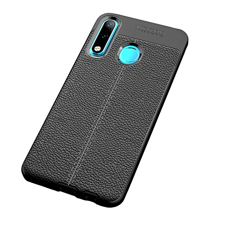 Чехол MyPads для Samsung Galaxy J8 2018 из силикона с дизайном под кожу черный