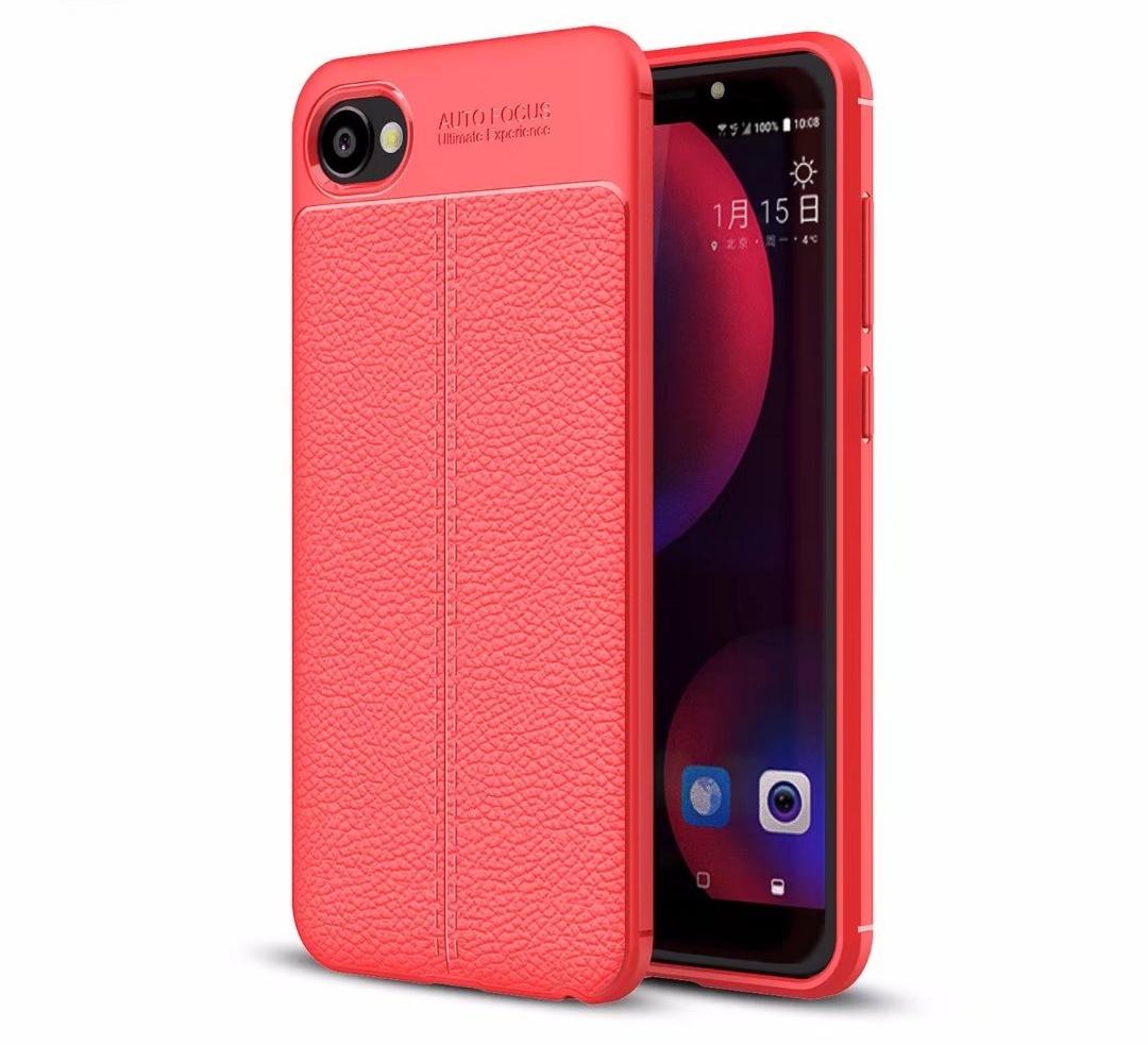 Чехол MyPads для HTC Desire 12 из силикона с дизайном под кожу красный