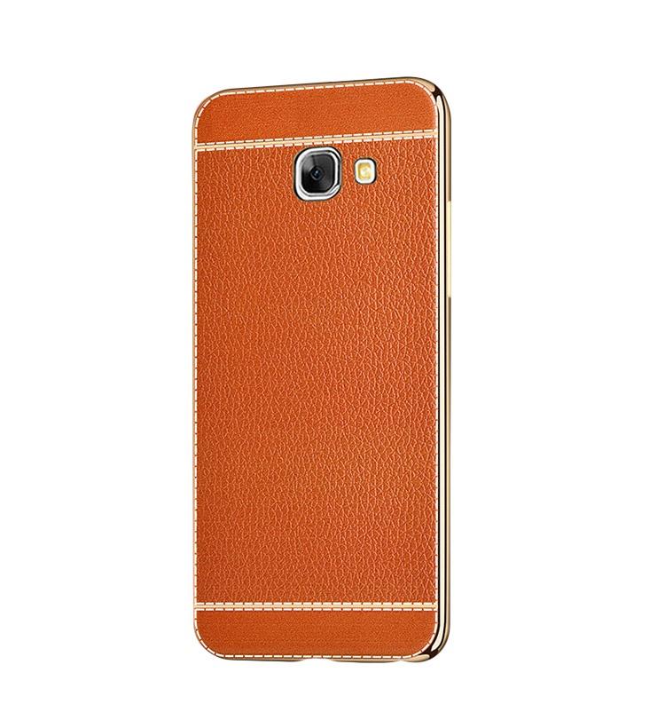 Чехол MyPads для Samsung Galaxy A5 2016 из силикона с дизайном под кожу оранжевая