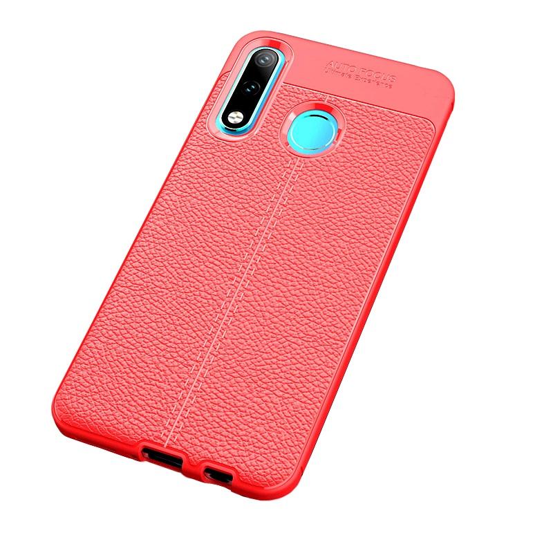 Чехол MyPads для Samsung Galaxy A8 2018 из силикона с дизайном под кожу красный