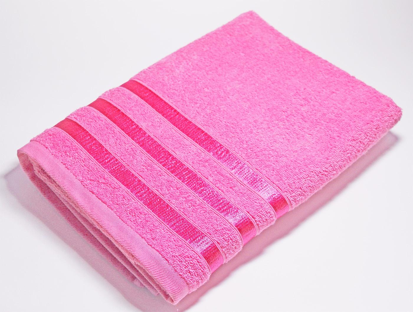 Полотенце махровое ОН и ОНА, ТРИНИТИ, 50x90 см, цвет - розовый
