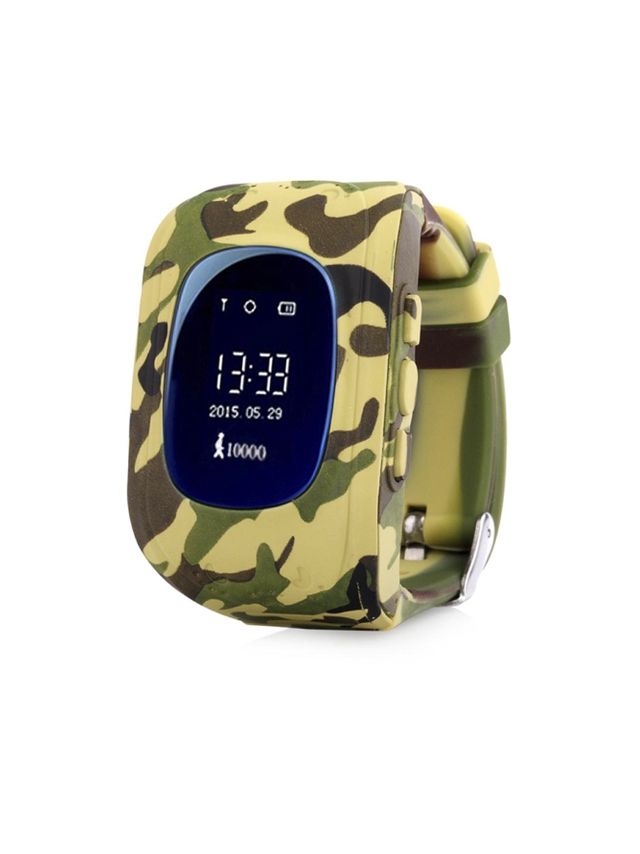 Детские умные часы телефон кнопочные (с gps и wi-fi)+ Приложение в подарок, Wokka Watch Q50, зелено-коричневый