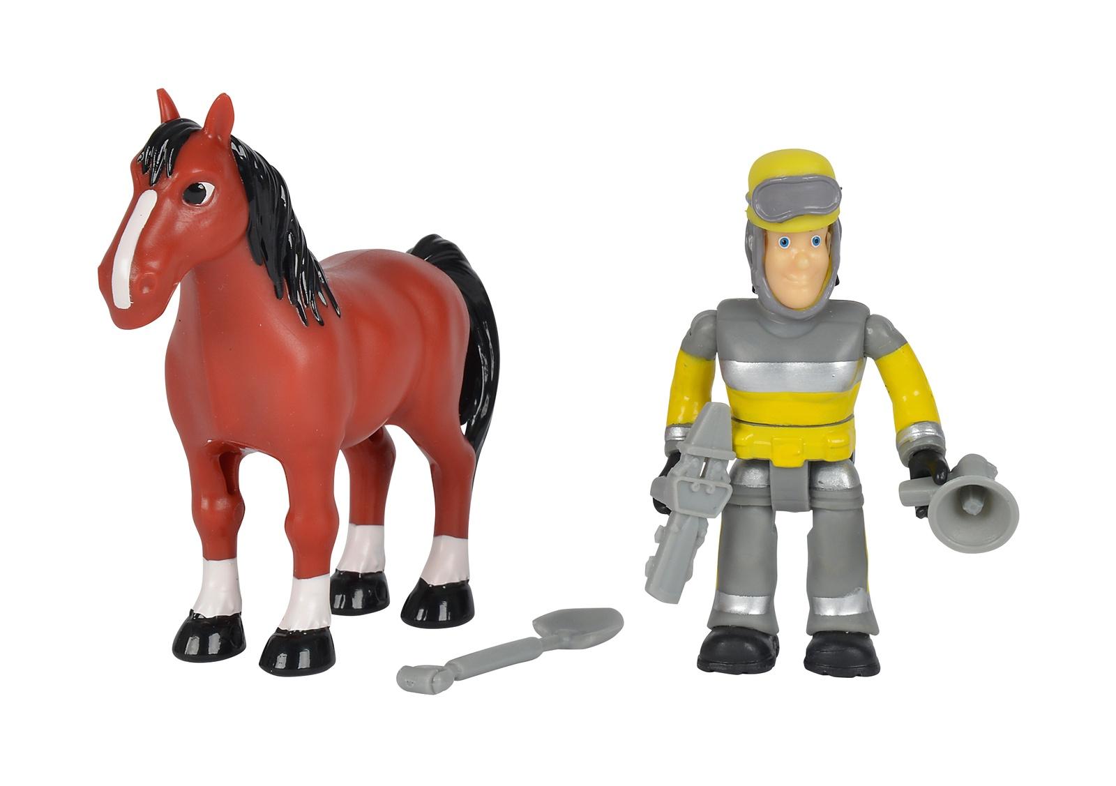 Пожарный Сэм, Фигурка + лошадка, 7,5 см