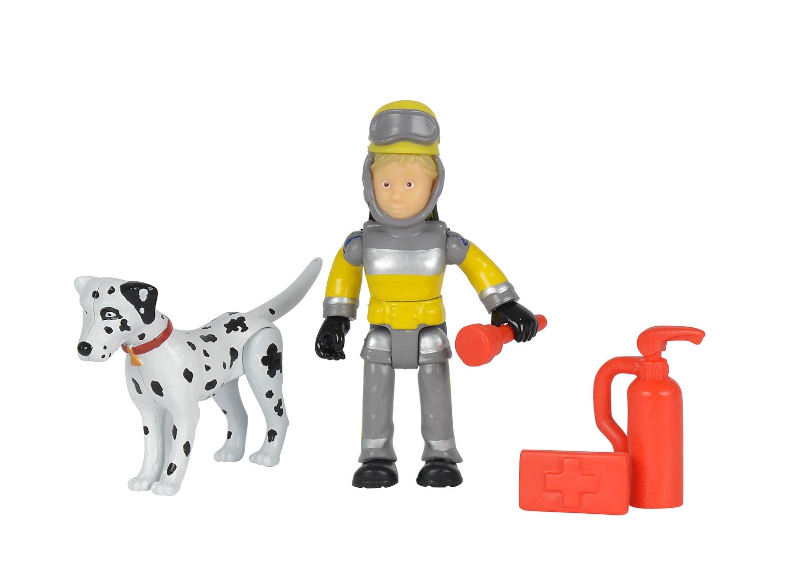 Пожарный Сэм, Фигурка + далматинец, 7,5 см