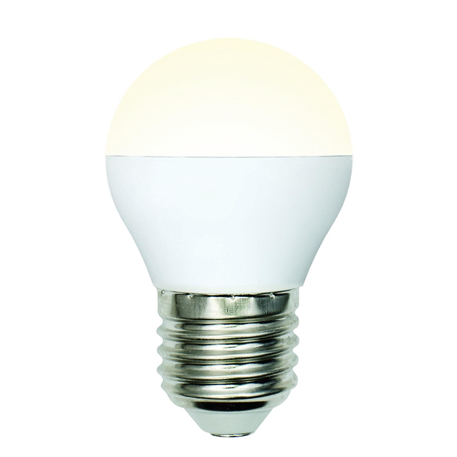 Лампочка Uniel LED-G45-6W/WW/E27/FR/MB 3000K, Теплый свет 6 Вт, Светодиодная