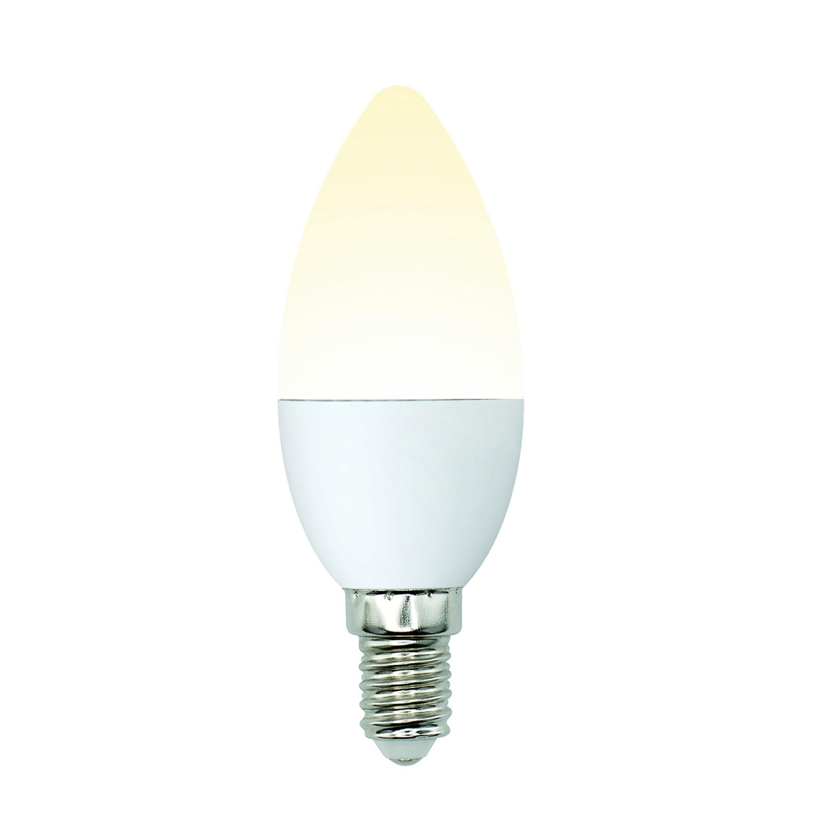 Лампочка Uniel LED-C37-6W/WW/E14/FR/MB 3000K, Теплый свет 6 Вт, Светодиодная