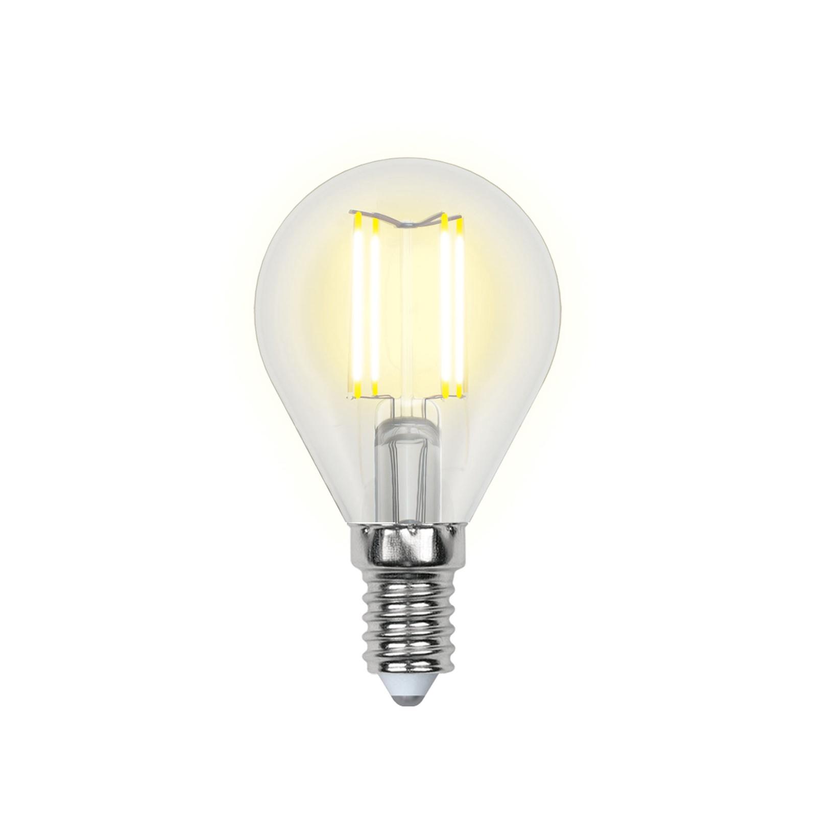Лампочка Uniel LED-G45-6W/WW/E14/CL 3000K, Теплый свет 6 Вт, Светодиодная