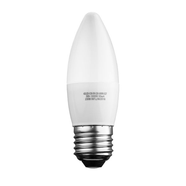 Лампочка Sweko 42LED-C35-5W-230-3000K-E27, 10 штук, Теплый свет 5 Вт, Светодиодная