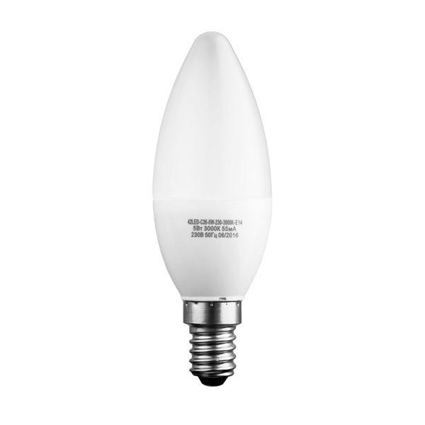 Лампочка Sweko 42LED-C35-5W-230-4000K-E14, 10 штук, Холодный свет 5 Вт, Светодиодная