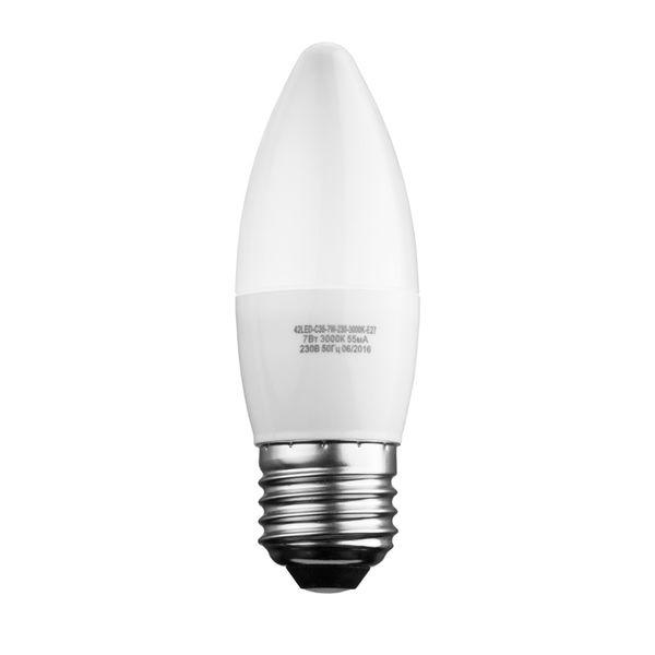 Лампочка Sweko 42LED-C35-7W-230-4000K-E27, 10 штук, Холодный свет 7 Вт, Светодиодная